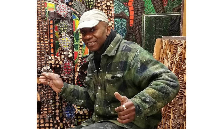 Catford artist Michael Connell makes art from Selco pallets