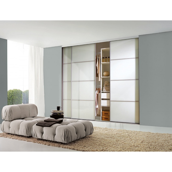Sliding Door - 4 Panel White Glass with Silver Frame 914mm