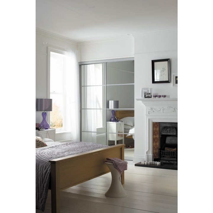 Sliding Door - 4 Panel Mirror with Silver Frame 610mm