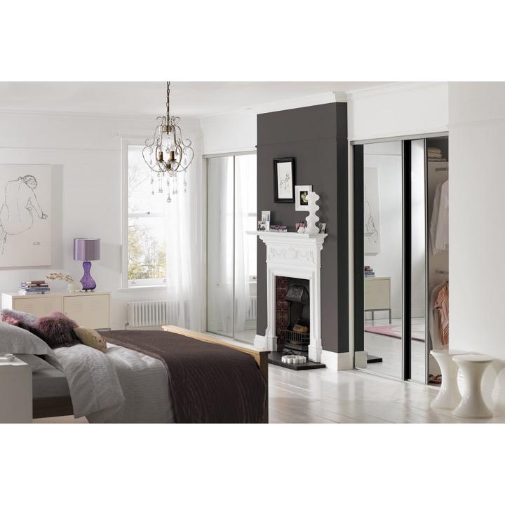 Sliding Door Silver Frame Mirror 610mm Selco