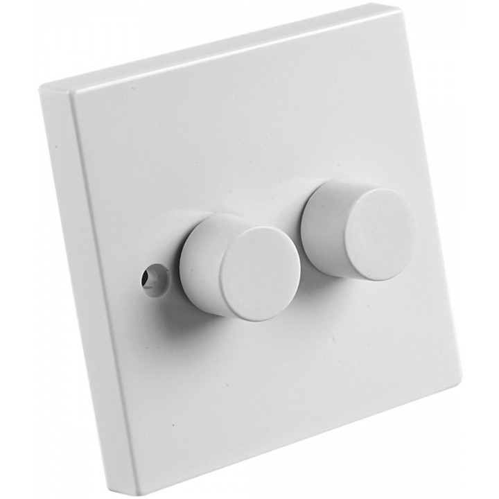 2 Gang 2 Way 250W Dimmer White