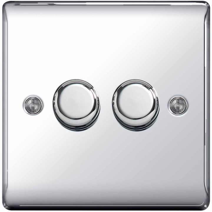 BG Nexus 2 Gang 2 Way Push Dimmer 400W Polished Chrome