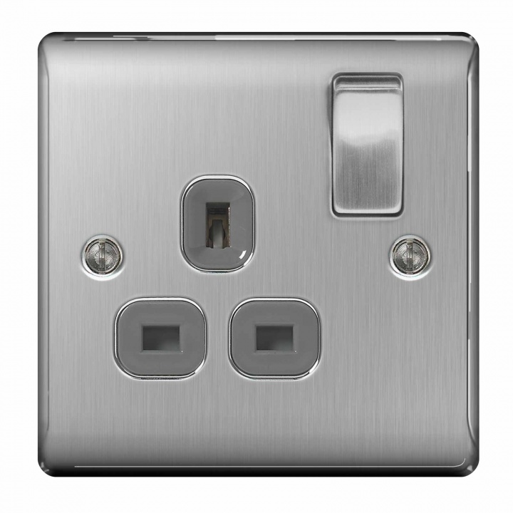 BG Nexus 1 Gang 13A Switched Socket Brushed Steel