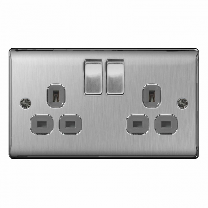 BG Nexus 2 Gang 13A Switched Socket Brushed Steel
