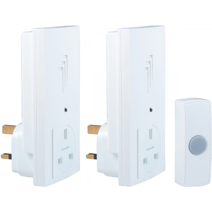 Byron Wire Free Plug Through Door Chime Kit Twin Pack