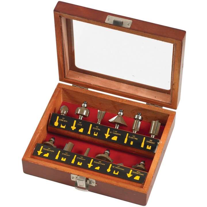 "Am-Tech 12 Piece ¼"" Router Bit Set"