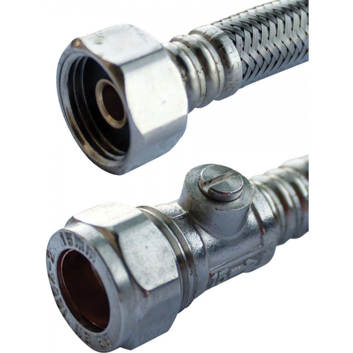 Flexible Tap Connector 15mm x 15mm x 500mm with Isolator Valve