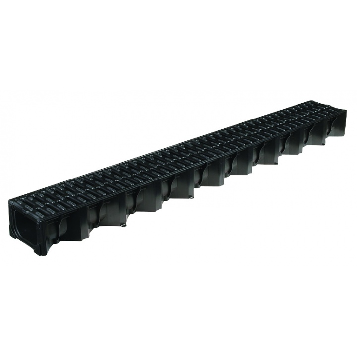 ACO HexDrain Channel with Black Plastic Grating 1m