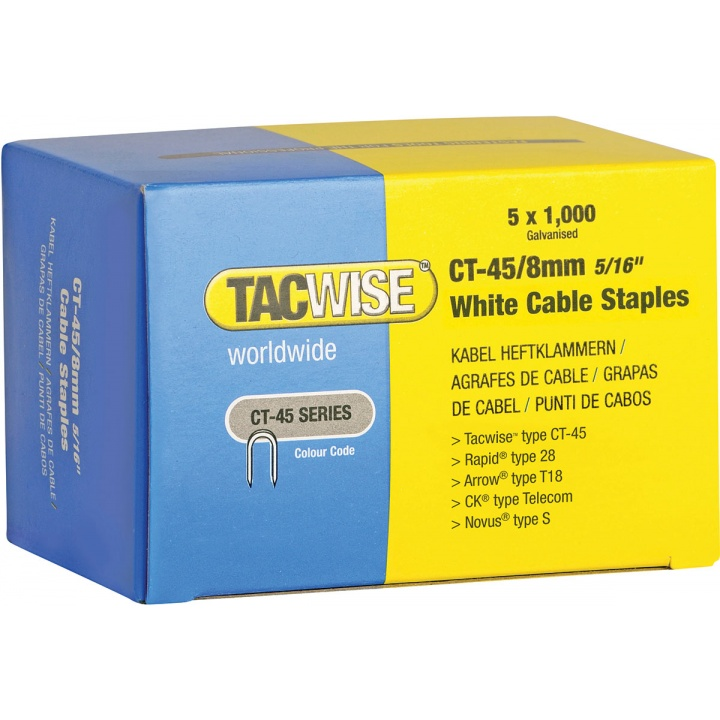 Tacwise CT45 8mm White Cable Staples (Pk 5000)