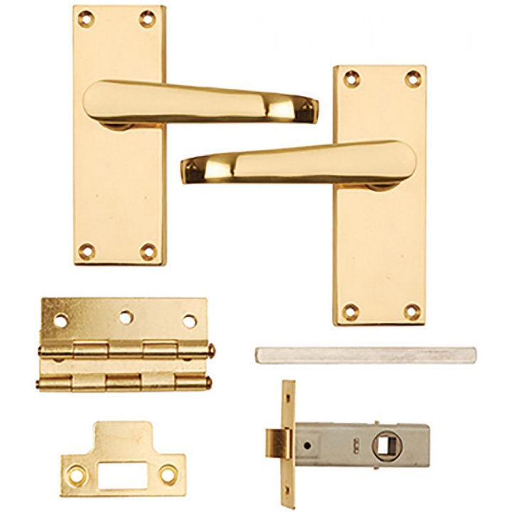 Victorian Latch Internal Door Pack Polished Brass