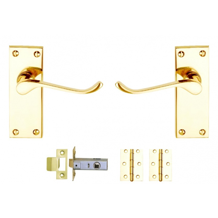 Victorian Scroll Latch Internal Door Pack Polished Brass