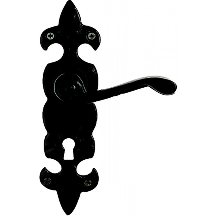 Premier Fleur De Lys Lock Door Handles Black Wrought Iron