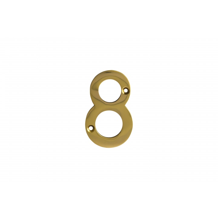 No 8 Numeral Polished Brass 76mm