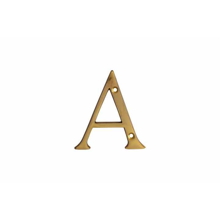 Letter A Polished Brass 76mm