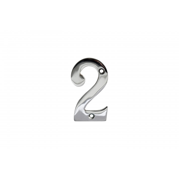 No 2 Numeral Polished Chrome 76mm