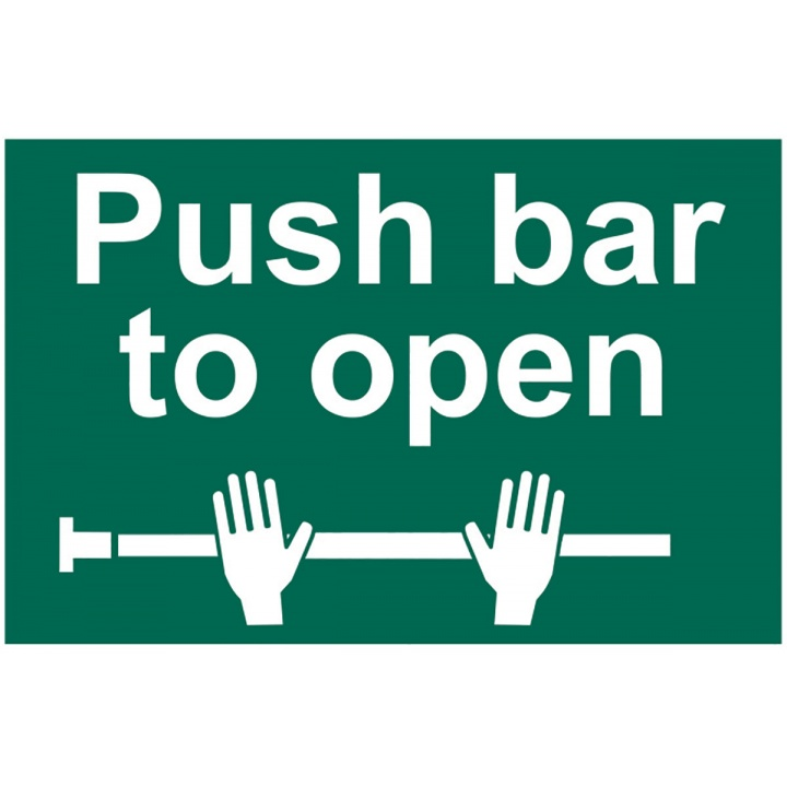 Push Bar To Open Sign 300 x 200mm Self Adhesive