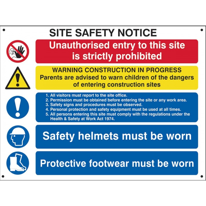 Site Safety Notice Sign 800 x 600mm