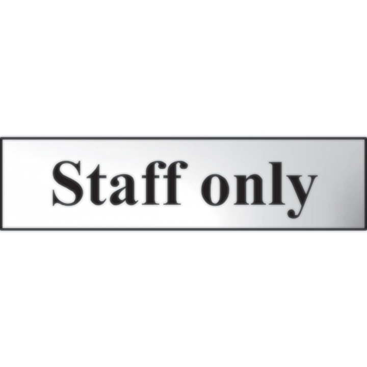 Staff Only Sign Chrome 200 x 50mm