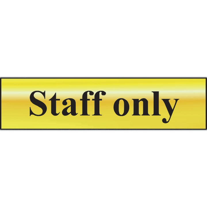 Staff Only Sign Gold 200 x 50mm