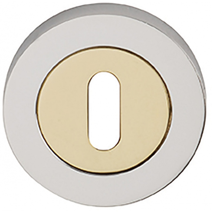 Orbit Keyhole Escutcheon Polished Brass / Polished Chrome