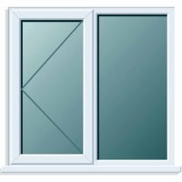 UPVC Window 1190 x 1040mm 2P LH Clear Glazed A Rated