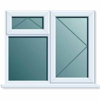 UPVC Window 1190 x 1040mm 3PTOV RH Clear Glazed A Rated