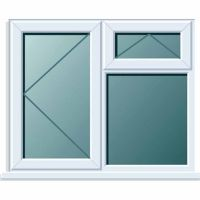 UPVC Window 1190 x 1190mm 3PTOV RH Clear Glazed A Rated