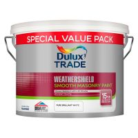 Dulux Trade Weathershield Smooth Masonry Paint Pure Brilliant White 7.5ltr