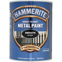 Hammerite Direct to Rust Metal Paint Smooth Black 5ltr