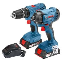 Bosch 18V Combi Drill & Impact Driver Twin Pack With 2 x 2Ah Batteries