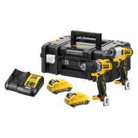 DeWalt 12V XR Brushless Combi Drill & Impact Driver Twin Pack With 2 x 3Ah Batteries