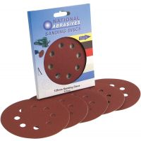 Medium Grade 125mm Random Orbit (8 Holes) Sanding Discs (Pk 5)