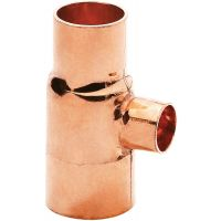 Copper End Feed Reducing Tee 22mm x 22mm x 15mm (PK 10)
