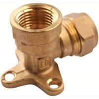 Copper Compression Wall Plate Elbow 15mm x ½""