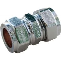 Chrome Compression Straight Coupler 15mm