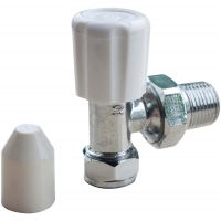 "Angled Radiator Valve with Caps 15mm x ½"" Pack of 10"
