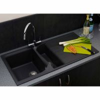 Reginox 1.5 Bowl Black Granite Kitchen Sink & Tap Pack
