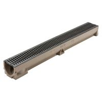 ACO RainDrain B 125 Channel with Cast Iron Heelguard Grating 1m