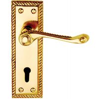 Georgian Lock Door Handles Polished Brass