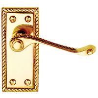 Georgian Latch Door Handles Polished Brass