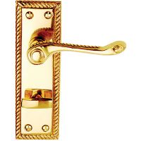 Georgian Privacy Door Handles Polished Brass