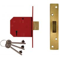 Union Y2134 BS3621 Mortice Deadlock Polished Brass 67mm