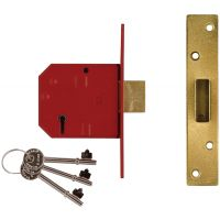 Union Y2134 BS3621 Mortice Deadlock Polished Brass 80mm