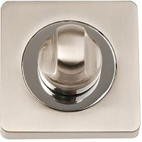 Square Bathroom Thumb Turn Set Satin Nickel / Polished Chrome