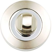 Aura Bathroom Thumb Turn Set Satin Nickel / Polished Chrome
