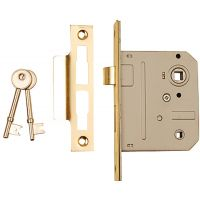 Dale Bathroom Mortice Lock Brass Plated 63mm