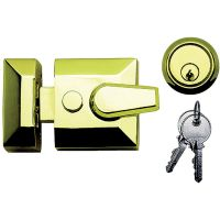Narrow Modern Dead Locking Night Latch Brass 60mm