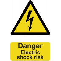 Danger Electric Shock Sign 200 x 300mm Self Adhesive