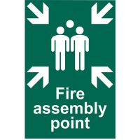 Fire Assembly Point Sign 200 x 300mm Self Adhesive