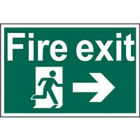Fire Exit Arrow Right Sign 300 x 200mm Self Adhesive